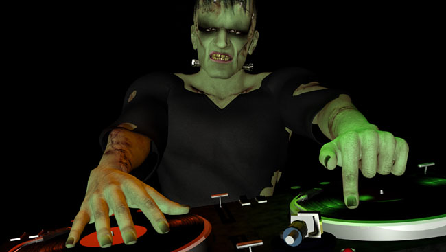 Frankenstein's Monster is in the House and mixing up some Halloween horror.  Turntables with vinyl albums.  Isolated black background.