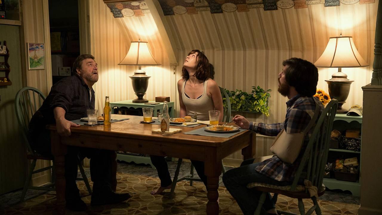 John Goodman as Henry; Mary Elizabeth Winstead as Michelle; and John Gallagher Jr. in 10 CLOVERFIELD LANE; by Paramount