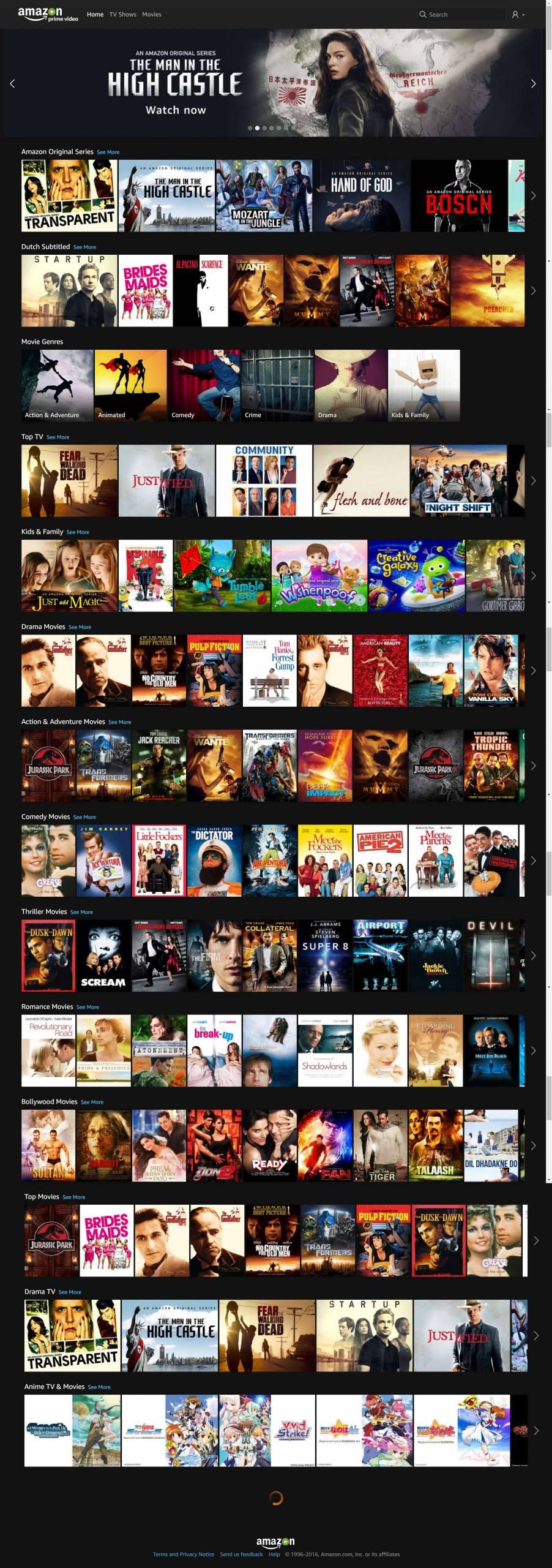 Amazon Prime Video Nederland website