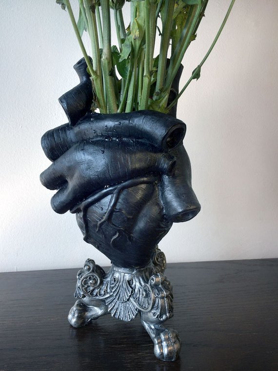 Anatomical Heart Vase Black Finish