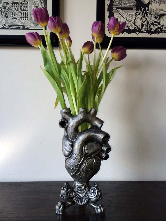 Anatomical Heart Vase Pewter Finish
