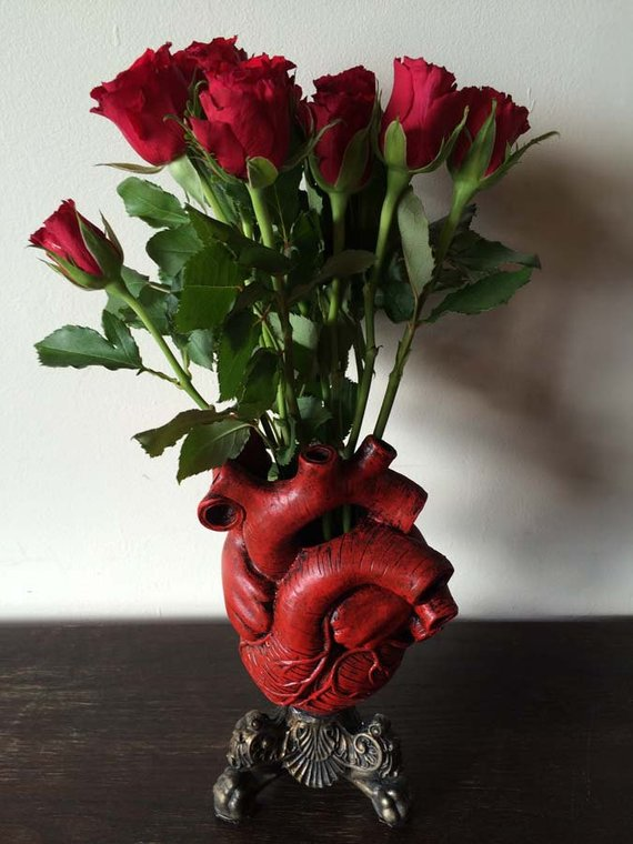 Anatomical Heart Vase Red Finish