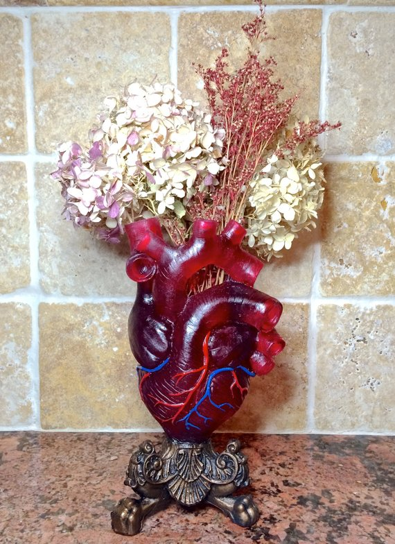 Anatomical Heart Vase Transparent Red with Veins