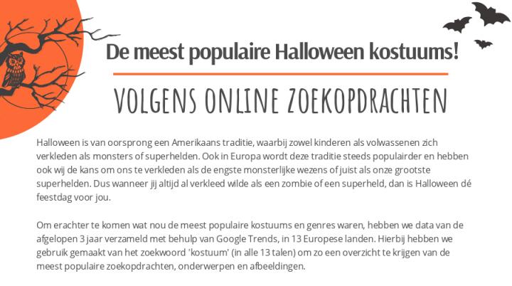 De meest populaire Halloween kostuums volgens online zoekopdrachten