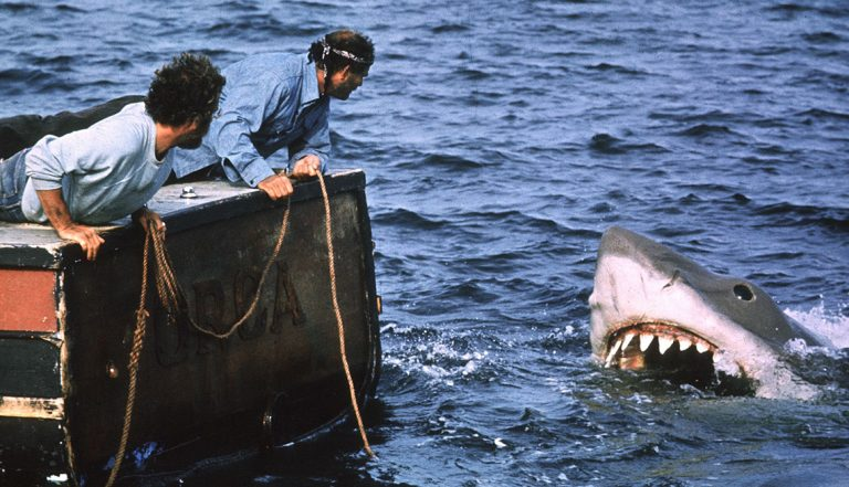 "Richard Dreyfuss en Robert Shaw in ""Jaws"""