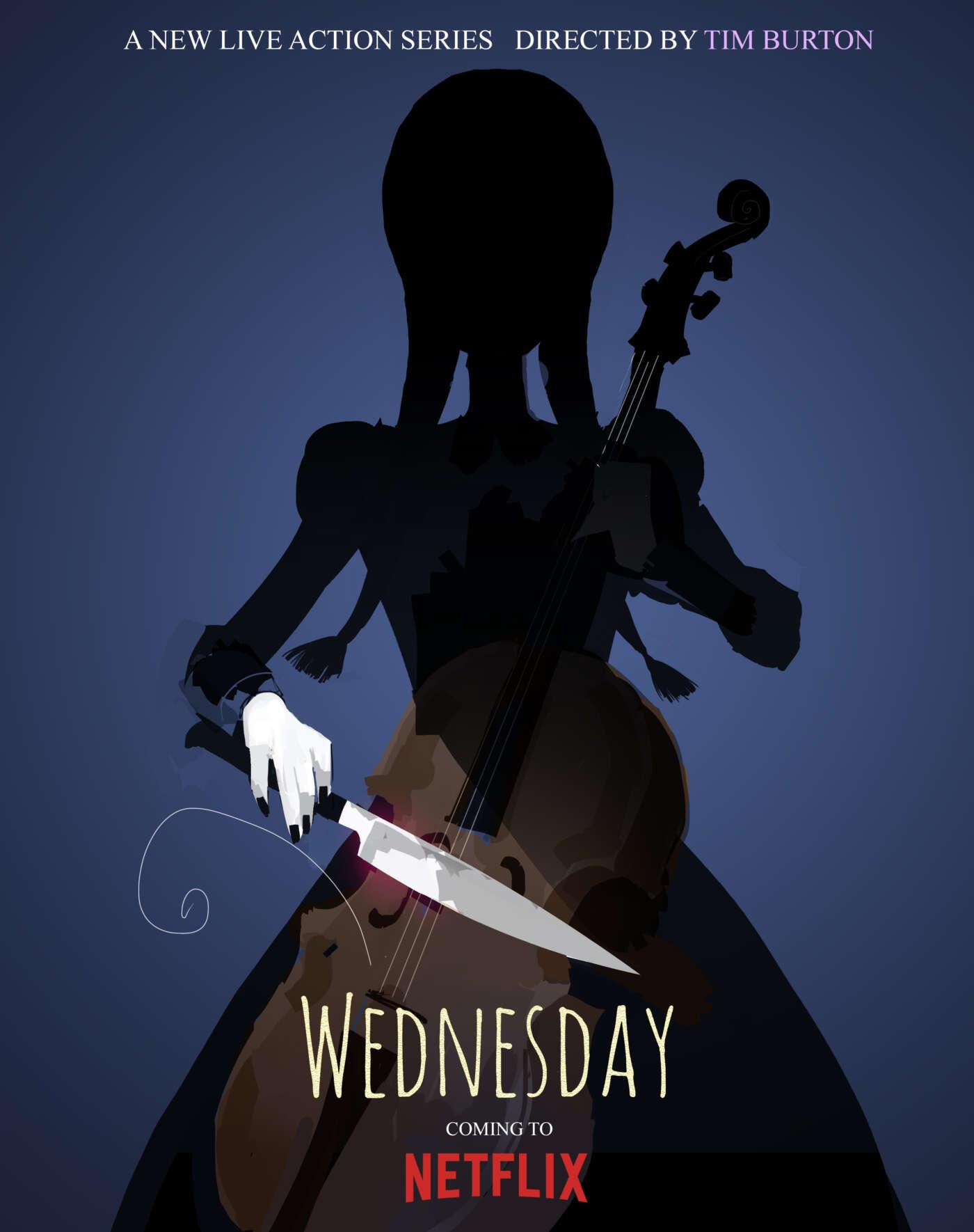 Teaser poster voor Wednesday, een live-action serie van Netflix, geregisseerd door Tim Burton